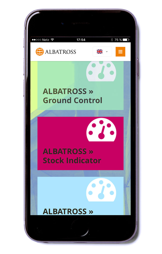Website, Smartphone, ALBATROSS Tank-Leasing