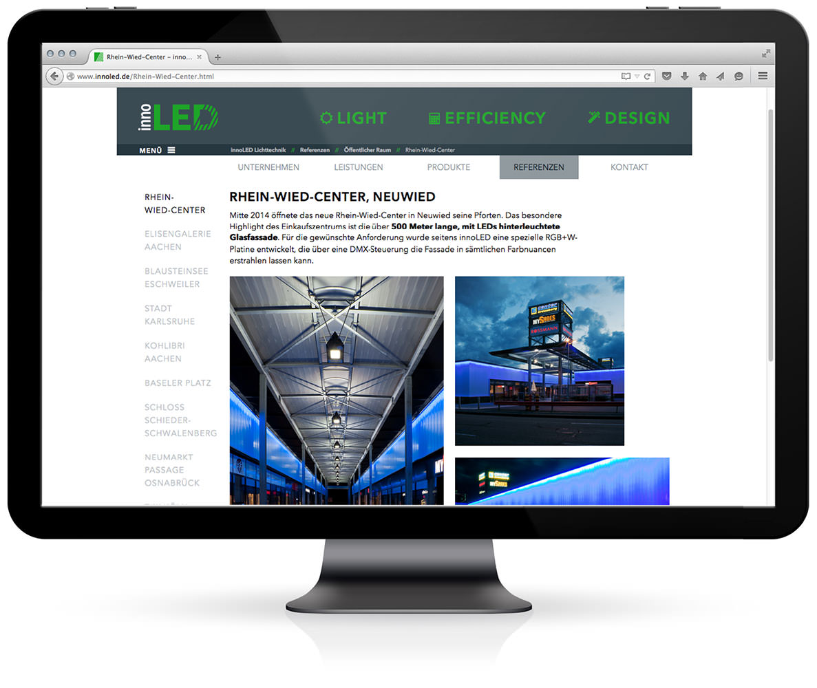 Website, Desktop, innoLED B. Reisen KG