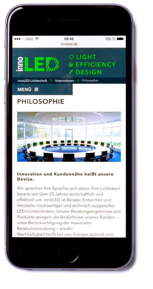 Website (Foto im Layout: © innoLED), Smartphone, innoLED B. Reisen KG